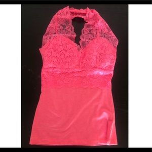 LOVE CULTURE NEON HOT PINK HALTER TOP WITH PADDING